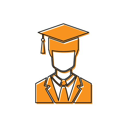 Orange Male graduate student profile with gown and graduation cap icon isolated on white background. Vector Illustration