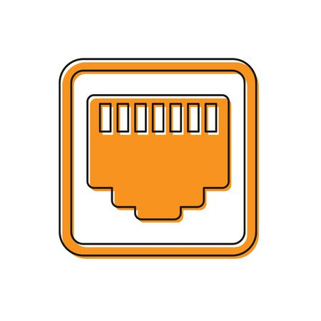Orange Network port - cable socket icon isolated on white background. LAN, ethernet port sign. Local area connector icon. Vector Illustration  イラスト・ベクター素材