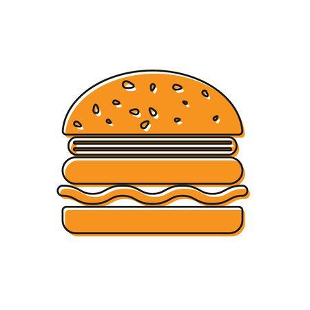 Orange Burger icon isolated on white background. Hamburger icon. Cheeseburger sandwich sign. Vector Illustration