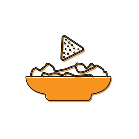 Orange Nachos in plate icon isolated on white background. Tortilla chips or nachos tortillas. Traditional mexican fast food. Vector Illustration