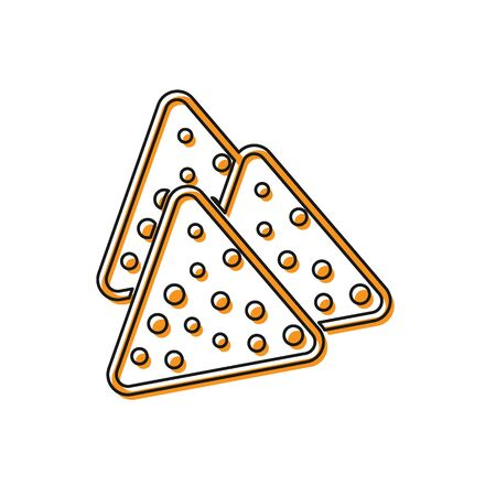 Orange Nachos icon isolated on white background. Tortilla chips or nachos tortillas. Traditional mexican fast food. Vector Illustration