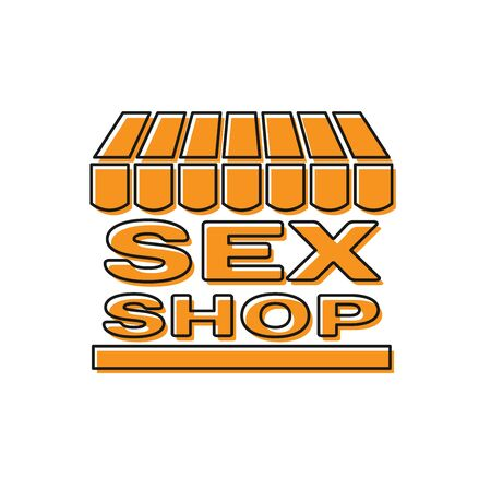 Orange Sex shop building with striped awning icon isolated on white background. Sex shop, online sex store, adult erotic products concept. Vector Illustration  イラスト・ベクター素材