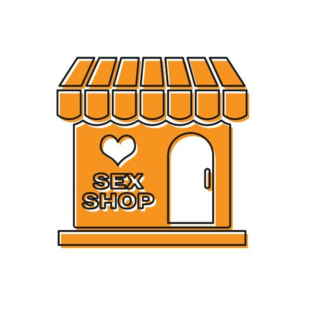 Orange Sex shop building with striped awning icon isolated on white background. Sex shop, online sex store, adult erotic products concept. Vector Illustration Illustration