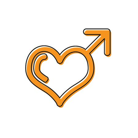 Orange Male gender symbol and heart icon isolated on white background. Vector Illustration Ilustração