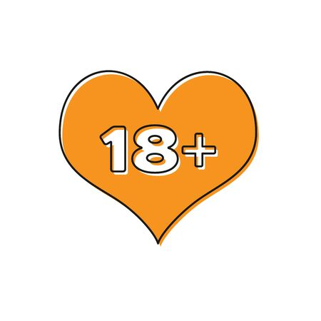 Orange 18 plus content heart icon isolated on white background. Adults content only icon. Vector Illustration