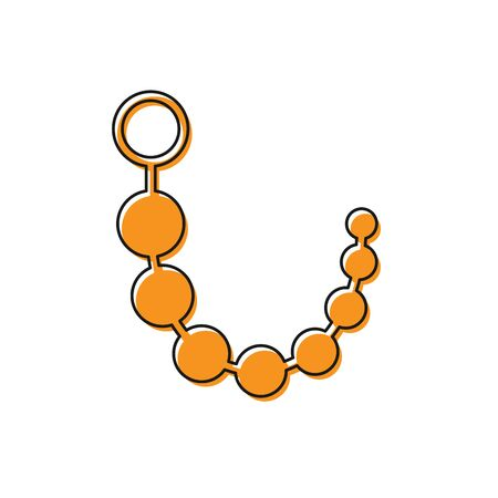 Orange Anal beads icon isolated on white background. Anal balls sign. Fetish accessory. Sex toy for men and woman. Vector Illustration