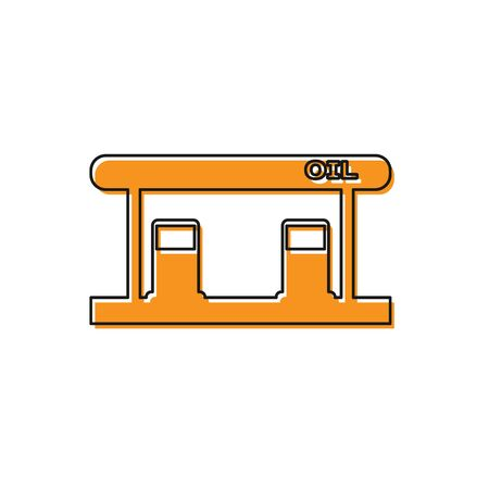 Orange Gas filling station icon isolated on white background. Transport related service building Gasoline and oil station. Vector Illustration Stock Illustratie