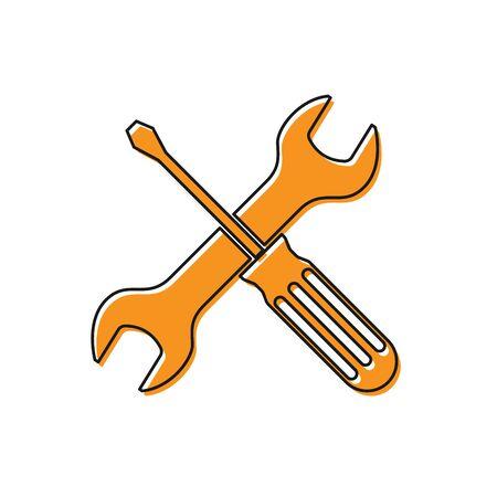 Pomarańczowy skrzyżowane ikona narzędzia śrubokręt i klucz na białym tle. Symbol narzędzia serwisowego. Ilustracja wektorowa