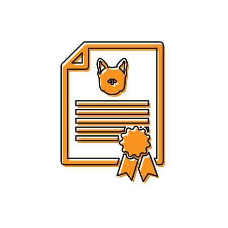 Orange Medical certificate for travel with dog or cat icon isolated on white background. Document for pet. Dog or cat paw print. Vector Illustration