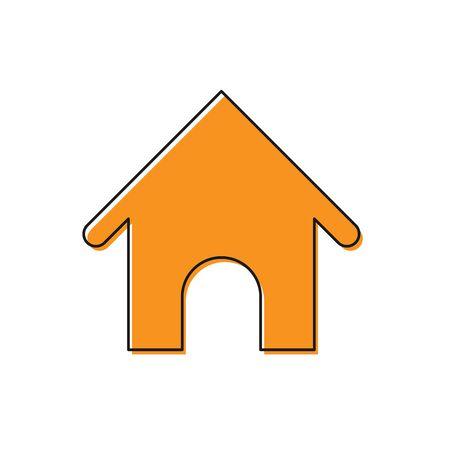 Orange Dog house icon isolated on white background. Dog kennel. Vector Illustration