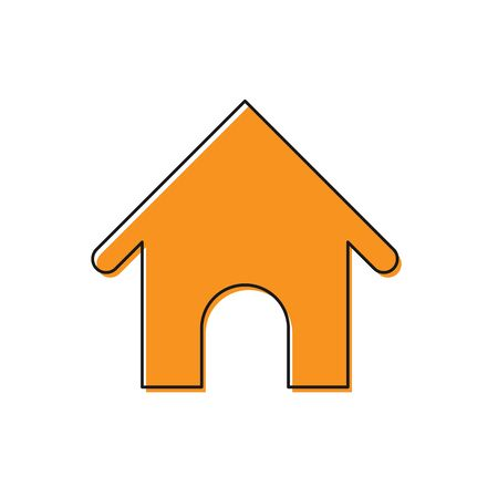 Orange Dog house icon isolated on white background. Dog kennel. Vector Illustration