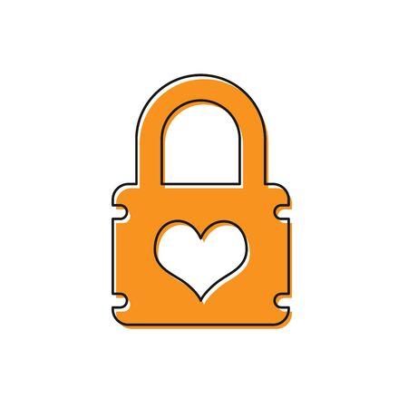 Orange Padlock with heart icon isolated on white background. Locked Heart. Love symbol and keyhole sign. Vector Illustration