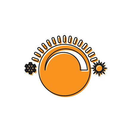 Orange Thermostat icon isolated on white background. Temperature control. Vector Illustration 向量圖像