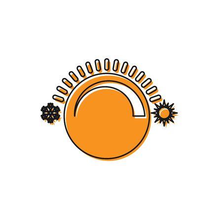 Orange Thermostat icon isolated on white background. Temperature control. Vector Illustration Ilustração