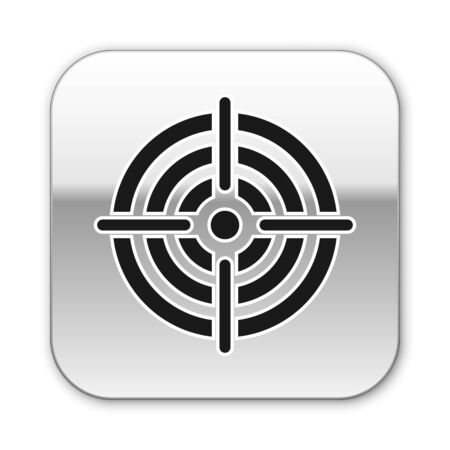 Black Target sport for shooting competition icon isolated on white background. Clean target with numbers for shooting range or pistol shooting. Silver square button. Vector Illustration