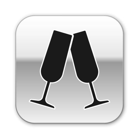 Black Glasses of champagne icon isolated on white background. Silver square button. Vector Illustration