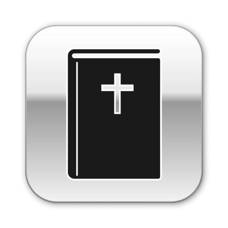 Black Holy bible book icon isolated on white background. Silver square button. Vector Illustration