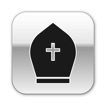 Black Pope hat icon isolated on white background. Christian hat sign. Silver square button. Vector Illustration  イラスト・ベクター素材