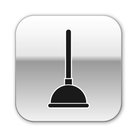 Black Rubber plunger with wooden handle for pipe cleaning icon isolated on white background. Toilet plunger. Silver square button. Vector Illustration Ilustração