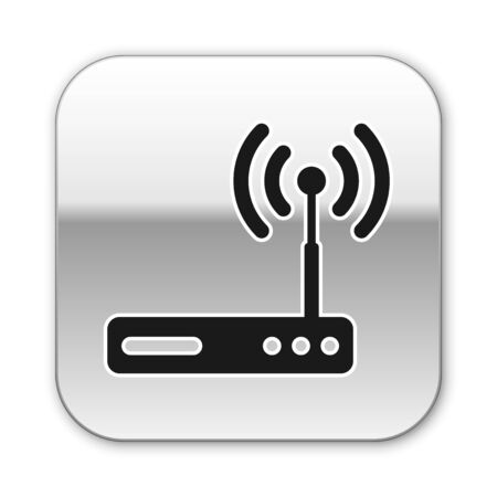 Black Router and wi-fi signal symbol icon isolated on white background. Wireless ethernet modem router. Computer technology internet. Silver square button. Vector Illustration Illustration
