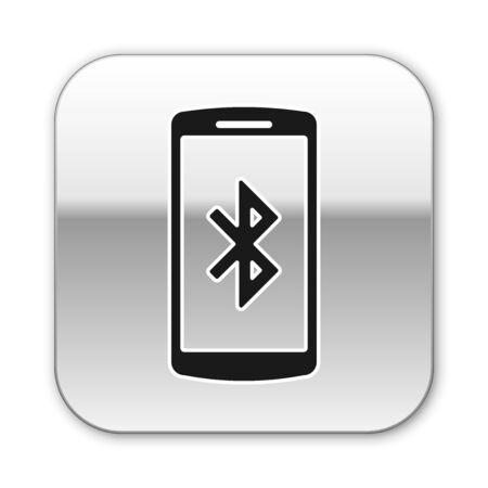 Black Smartphone with bluetooth symbol icon isolated on white background. Silver square button. Vector Illustration