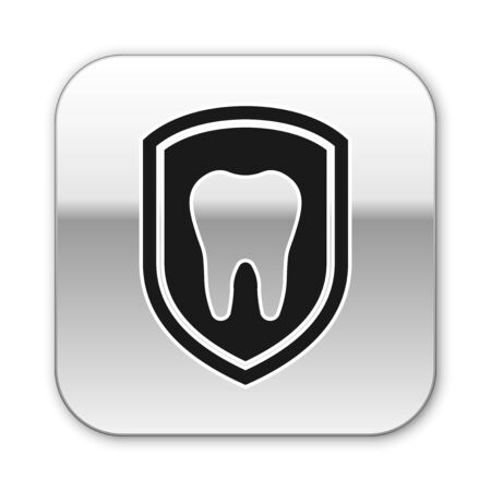 Black Dental protection icon isolated on white background. Tooth on shield logo icon. Silver square button. Vector Illustration 矢量图像