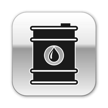 Black Barrel oil icon isolated on white background. Silver square button. Vector Illustration