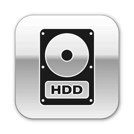 Black Hard disk drive HDD icon isolated on white background. Silver square button. Vector Illustration