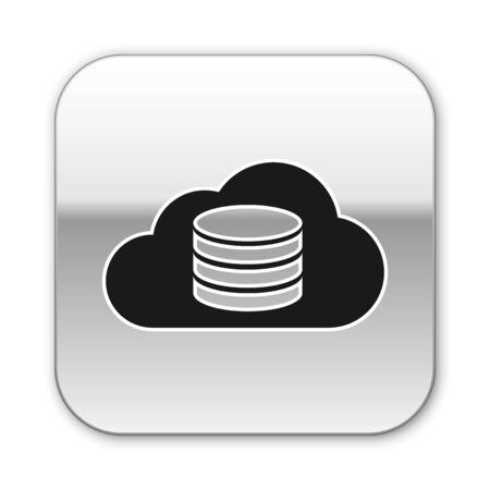Black Cloud database icon isolated on white background. Cloud computing concept. Digital service or app with data transferring. Silver square button. Vector Illustration