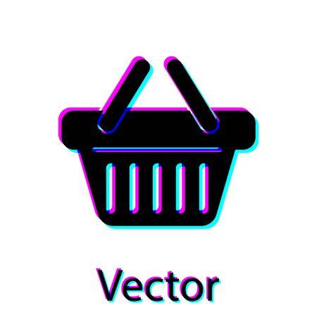 Black Shopping basket icon isolated on white background. Vector Illustration
