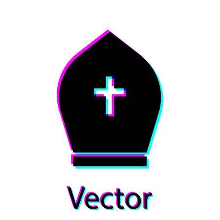 Schwarzer Papst-Hut-Symbol auf weißem Hintergrund. Christliches Hutzeichen. Vektorillustration