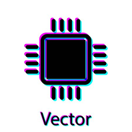 Black Computer processor with microcircuits CPU icon isolated on white background. Chip or cpu with circuit board sign. Micro processor. Vector Illustration