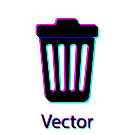 Black Trash can icon isolated on white background. Garbage bin sign. Vector Illustration