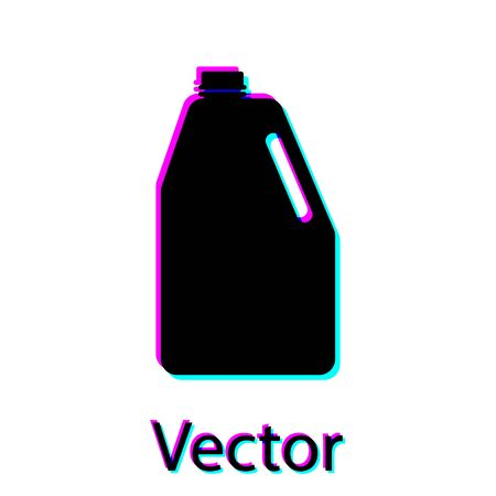 Black Household chemicals blank plastic bottle icon isolated on white background. Liquid detergent or soap, stain remover, laundry bleach. Vector Illustration