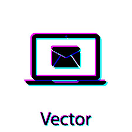 Black Laptop with envelope and open email on screen icon isolated on white background. Email marketing, internet advertising concepts. Vector Illustration