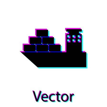Black Cargo ship icon isolated on white background. Vector Illustration