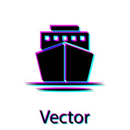 Black Ship icon isolated on white background. Vector Illustration