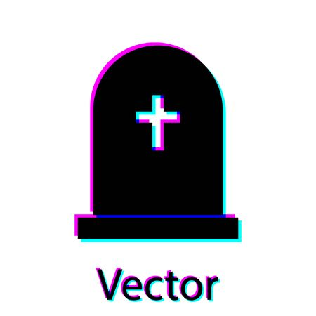 Black Tombstone with cross icon isolated on white background. Grave icon. Vector Illustration