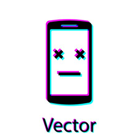 Black Dead phone icon isolated on white background. Deceased digital device emoji symbol. Corpse smartphone showing facial emotion. Vector Illustration