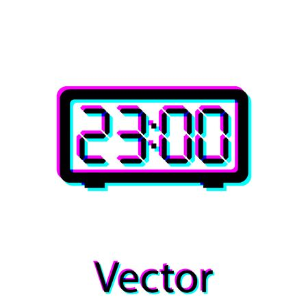 Black Digital alarm clock icon isolated on white background. Electronic watch alarm clock. Time icon. Vector Illustration
