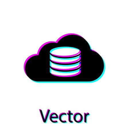 Black Cloud database icon isolated on white background. Cloud computing concept. Digital service or app with data transferring. Vector Illustration