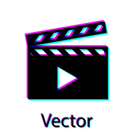 Black Movie clapper icon isolated on white background. Film clapper board icon. Clapperboard sign. Cinema production or media industry concept. Vector Illustration