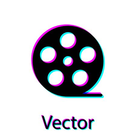 Black Film reel icon isolated on white background. Vector Illustration Illustration
