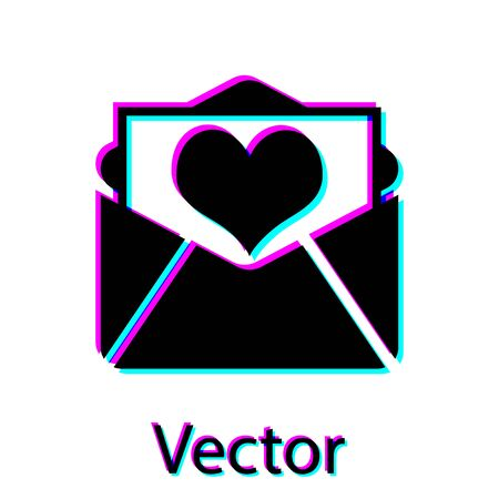 Black Envelope with Valentine heart icon isolated on white background. Letter love and romance. Vector Illustration Illustration