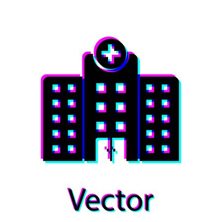 Black Medical hospital building with cross icon isolated on white background. Medical center. Health care. Vector Illustration Illustration