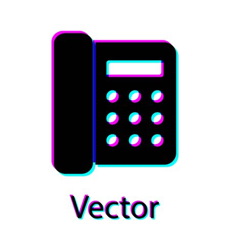 Black Telephone icon isolated on white background. Landline phone. Vector Illustration Ilustração