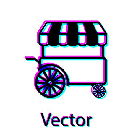 Black Fast street food cart with awning icon isolated on white background. Urban kiosk. Vector Illustration