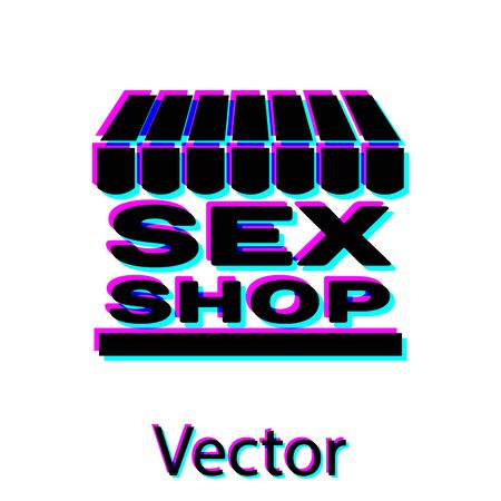 Black Sex shop building with striped awning icon isolated on white background. Sex shop, online sex store, adult erotic products concept. Vector Illustration