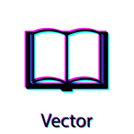 Icona del libro aperto nero isolato su priorità bassa bianca. illustrazione vettoriale Vettoriali