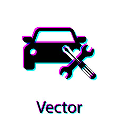 Black Car with screwdriver and wrench icon isolated on white background. Adjusting, service, setting, maintenance, repair, fixing. Vector Illustration